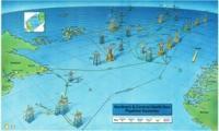 Kaart met booreilanden en pijpleidingen in vogelvlucht