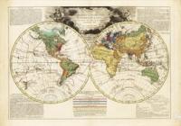 Wereldkaart met de reizen van Cook en La Pérouse door Louis Brion de la Tour, 1802